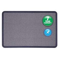 "Quartet® Contour® Fabric Bulletin Board, 48"" x 36"", Plastic Frame With Light Blue/Navy Finish"
