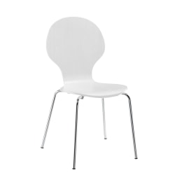 DHP Bentwood Shell Chairs, White/Silver, Set Of 2