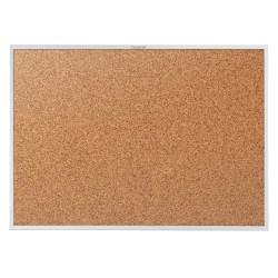 """Quartet® Classic Cork Bulletin Board, 24"""" x 36"""", Natural Brown, Silver Aluminum Frame"""