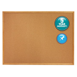 "Quartet® Cork Bulletin Board, 36"" x 60"", Wood Frame With Oak Finish"