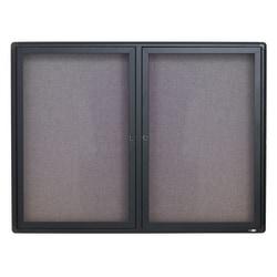 """Quartet® Swinging Door Fabric Bulletin Board, 36"""" x 48"""", Aluminum Frame With Graphite Finish"""