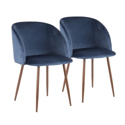 LumiSource Fran Accent/Dining Chairs, Blue/Walnut, Set Of 2 Chairs