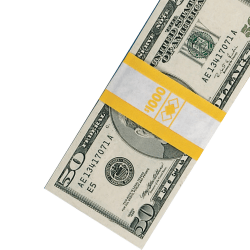 PM™ Company Currency Bands, $1,000.00, Yellow, Pack Of 1,000