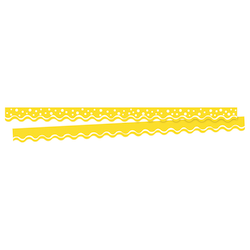 "Barker Creek Scalloped-Edge Border Strips, 2 1/4"" x 36"", Happy Lemon Yellow, Pre-K To College, Pack Of 26"