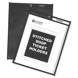"""C-Line® Stitched Shop Ticket Holders With Black Backing, 9"""" x 12"""", Box Of 25"""