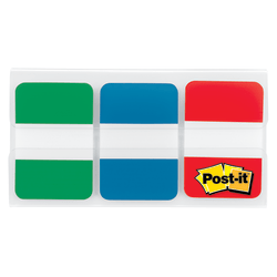 "Post-it® Notes Durable Filing Tabs, 1"" x 1-1/2"", Assorted Colors, 22 Flags Per Pad, Pack Of 3 Pads"