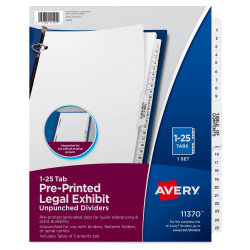 """Avery® 20% Recycled Avery-Style Premium Collated Legal Index Exhibit Dividers, Side-Tab, 1-25, 8 1/2"""" x 11"""""""