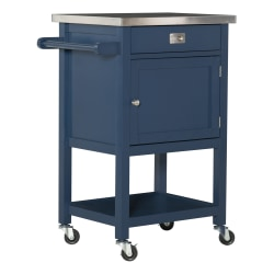 """Linon Home Decor Products Victoria 36""""H Apartment Cart With Stainless-Steel Top, Navy"""