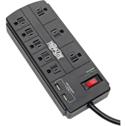 Tripp Lite Surge Protector Power Strip 8-Outlet 2 USB Charging Ports 8ft Cord - 8 x NEMA 5-15R, 2 x USB - 1875 VA - 1200 J - 120 V AC Input