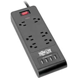 Tripp Lite Surge Protector Power Strip 6-Outlets 4 USB Ports 6ft Cord Black - 6 x NEMA 5-15R, 4 x USB - 1875 VA - 900 J - 120 V AC Input