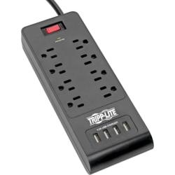 Tripp Lite Surge Protector Power Strip 8-Outlets 4 USB Ports 6ft Cord Black - 8 x NEMA 5-15R, 4 x USB - 1875 VA - 1800 J - 120 V AC Input