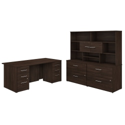"Bush Business Furniture Office 500 72""W Executive Desk With Lateral File Cabinets And Hutch, Black Walnut, Premium Installation"