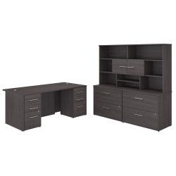 "Bush Business Furniture Office 500 72""W Executive Desk With Lateral File Cabinets And Hutch, Storm Gray, Premium Installation"