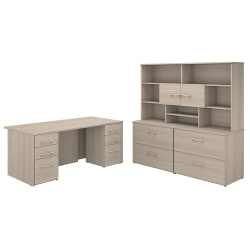 """Bush Business Furniture Office 500 72""""W Executive Desk With Lateral File Cabinets And Hutch, Sand Oak, Premium Installation"""