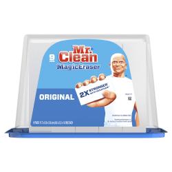 "Mr. Clean® Magic Eraser Original Cleaning Pads, 1""H x 4-5/8""W x 2-5/16""D, White, Pack Of 9 Pads"