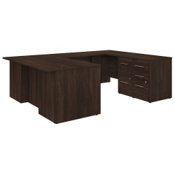 "Bush Business Furniture Office 500 72""W U-Shaped Executive Desk With Drawers, Black Walnut, Premium Installation"