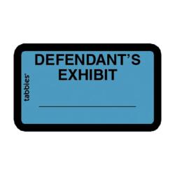 """Tabbies Defendant's Exhibit Legal File Labels, 58093, 1 5/8""""W x 1""""L, Blue, Pack Of 252"""