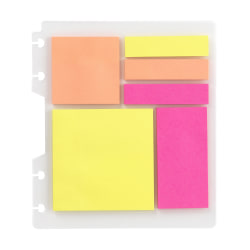 TUL® Discbound Bright Sticky Note Pads, Assorted Colors, 25 Sheets Per Pad, 1 Dashboard of 6 Assorted Pads