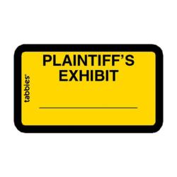 "Tabbies Plaintiff's Exhibit Legal File Labels, 58094, 1 5/8""W x 1""L, Yellow, Pack Of 252"