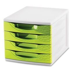 "CEP Origins Plastic 4-Drawer Desktop Sorting Module, 10 7/16"" x 11 13/16"" x 14 1/2"", White/Green"