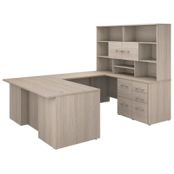 "Bush Business Furniture Office 500 72""W U-Shaped Executive Desk With Drawers And Hutch, Sand Oak, Premium Installation"