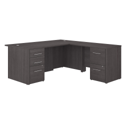 """Bush Business Furniture Office 500 72""""W L-Shaped Executive Desk With Drawers, Storm Gray, Premium Installation"""