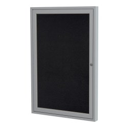 "Ghent 1 Door Enclosed Recycled Rubber Bulletin Board With Satin Frame, 36""H x 30""W, Black"