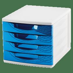 "CEP Origins Plastic 4-Drawer Organizer, 9 3/4"" x 11 1/2"" x 15 5/8"", White/Ocean Blue"