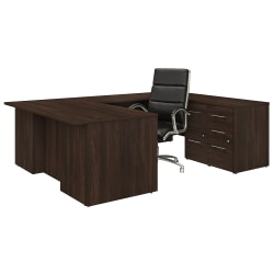 "Bush Business Furniture Office 500 72""W U-Shaped Executive Desk With Drawers And High-Back Chair, Black Walnut, Premium Installation"