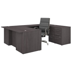 """Bush Business Furniture Office 500 72""""W U-Shaped Executive Desk With Drawers And High-Back Chair, Storm Gray, Premium Installation"""