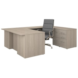 """Bush Business Furniture Office 500 72""""W U-Shaped Executive Desk With Drawers And High-Back Chair, Sand Oak, Premium Installation"""