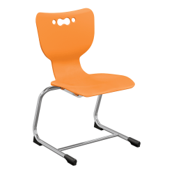 """Hierarchy Stackable Cantilever Student Chairs, 14"""", Orange/Chrome, Set Of 5 Chairs"""