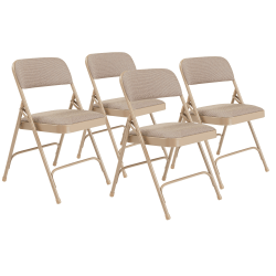 National Public Seating 2200 2-Hinge Folding Chairs, Beige, Set Of 4 Chairs