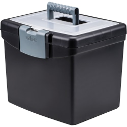 "Storex Portable Storage Box - External Dimensions: 14.9"" Length x 11"" Width x 12.1""Height - Media Size Supported: Letter - Snap-tight Closure - Plastic - Black - For File - Recycled - 1 / Carton"