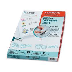 """C-Line® Cleer-Adheer Laminating Sheets, 9"""" x 12"""", Nonglare, Box Of 50"""