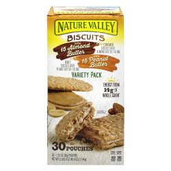 NATURE VALLEY Biscuits Variety Pack, 1.35 Oz, Pack Of 30 Biscuits
