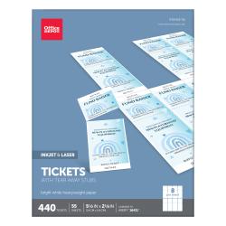 "Office Depot® Brand Inkjet/Laser Tickets, 5 1/2"" x 2 1/8"", Bright White, Pack Of 440"