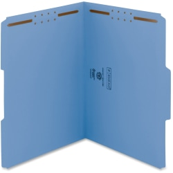 """Smead WaterShed®CutLess® Fastener Folders - Letter - 8 1/2"""" x 11"""" Sheet Size - 2 x 2K Fastener(s) - 1/3 Tab Cut - Assorted Position Tab Location - 11 pt. Folder Thickness - Blue - Recycled - 50 / Box"""