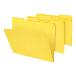"""Office Depot® Brand Heavy-Duty File Folders, 3/4"""" Expansion, Letter Size, Yellow, Pack Of 18 Folders"""