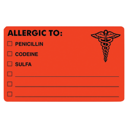 "Tabbies® ""ALLERGIC TO:"" Medical Allergy Labels, TAB00488, 4"" x 2 1/2"", Fluorescent Red, Roll Of 100"