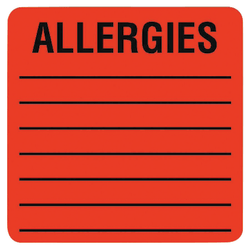 "Tabbies® Allergy Labels, TAB40560, 2"" x 2"" Square, Flourescent Red, Roll of 500"