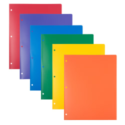 """JAM Paper® Heavy-Duty 3-Hole Punched Plastic Presentation Folders, 9-1/2"""" x 11-1/2"""", Assorted Primary, Pack Of 6 Folders"""