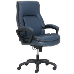 Shaquille O'Neal™ Amphion Ergonomic Bonded Leather High-Back Executive Chair, Navy/Black