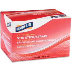 Genuine Joe Plastic Stir Sticks, White/Red, Box Of 1,000 Stir Sticks