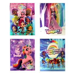 "Inkology 2-Pocket Portfolios, Rainbow Rangers Bright And Glossy, 9-1/2"" x 11-3/4"", Assorted Designs, Pack Of 24 Folders"