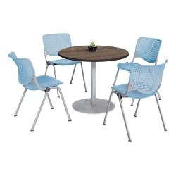 KFI Studios KOOL Round Pedestal Table With 4 Stacking Chairs, Studio Teak/Sky Blue