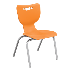 "Hierarchy 4-Leg Stackable Student Chairs, 14"", Orange/Chrome, Set Of 5 Chairs"