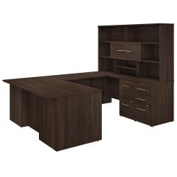 "Bush Business Furniture Office 500 72""W U-Shaped Executive Desk With Drawers And Hutch, Black Walnut, Premium Installation"