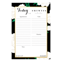 "See Jane Work® Magnetic Daily Planning Pad, 5-1/2"" x 8"", White Roses"