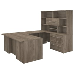 "Bush Business Furniture Office 500 72""W U-Shaped Executive Desk With Drawers And Hutch, Modern Hickory, Premium Installation"